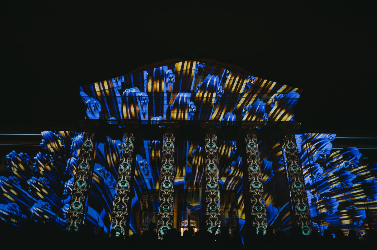 Video mapping on the Romanian Athenaeum