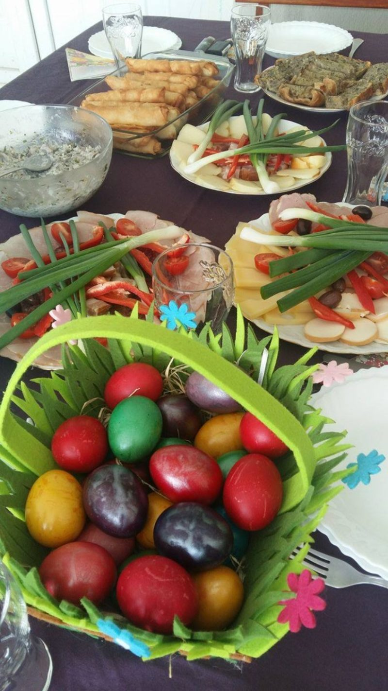 Easter feast (drob, hard boiled eggs, spring onions, cheese)