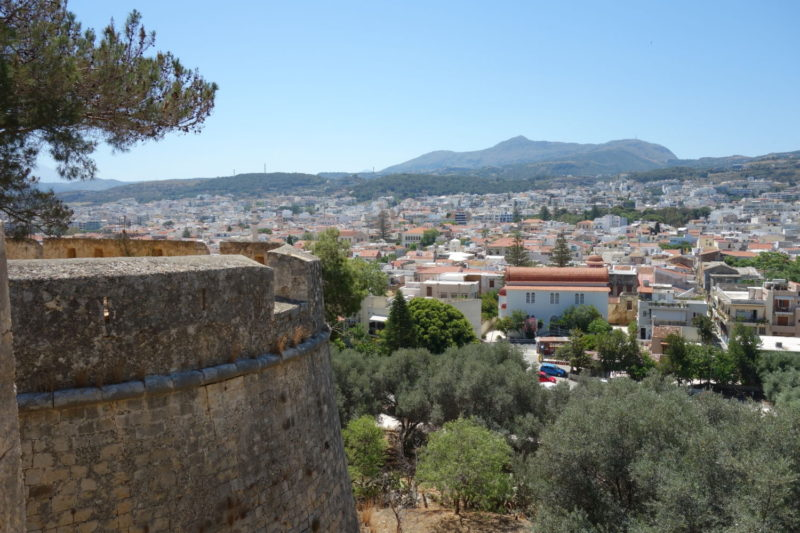 View from the walls of Fortezza- a Venetian fortress – looking at Old Town, Rethymno, Crete.